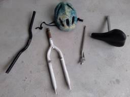 Guidão/banco/garfo/pezinho/capacete - vende troca algo interesse