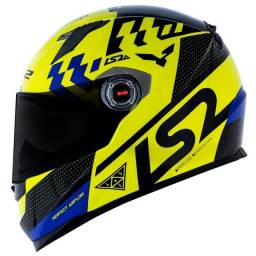 Capacete LS2 FF 358 clássic podium 58 amarelo com  azul