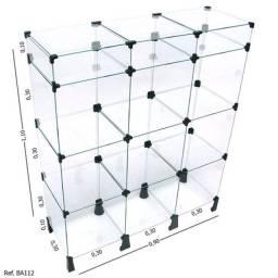 Balcão de Atendimento Modulado em Vidro com Porta Bijuteria - 0,90 x 1,10 x 0,30