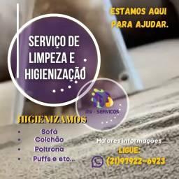 Limpeza e higienização de estofados em geral