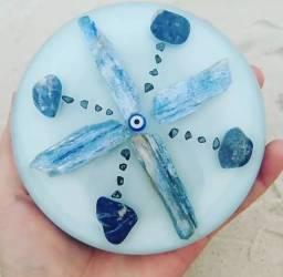 Orgonite Mandala Cianita azul,Sodalita e Hematita