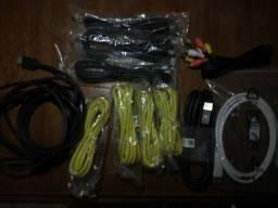 conjunto 4 cabos cat5e, 3 hdmis novos, 2 hdmi usados, 1 display port