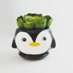 Cachepó / Vaso Formato Pinguim para Suculentas e Cactos