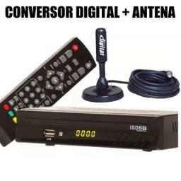 Conversor de TV Analógica Para Digital e antena