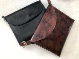 Bolsa feminina transversal couro legitimo artesanal