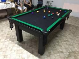 Mesa de Bilhar Campo de Jogo em MDF 1,93 X 1,18 Tabaco Tecido Preto Bordas Verde