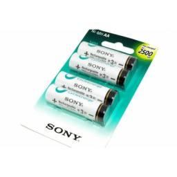 Pilha Recarregável Sony Aa 2500 Mah Com 4 Unid Orig