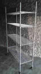 Estante Multiuso Metal Cromada 1,22x45cm