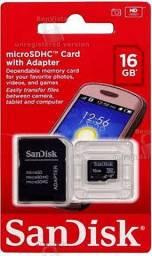 Cartão De Memória 16Gb Sd/Micro Sd Sandisk Sdhc/16Gb Sdsdqm-016G