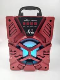 Caixa De Som Bluetooth Hifi Sd Card P2 Usb Radio Fm D-BH4101 Vermelha