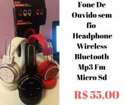 Fone De Ouvido sem.fio Headphone Wireless Bluetooth Mp3 Fm Micro Sd