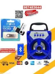 *Oferta*Caixa De Som Portátil Bluetooth Usb + Pen Drive 8 GB