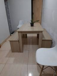 Mesa com 2 bancos - mdf