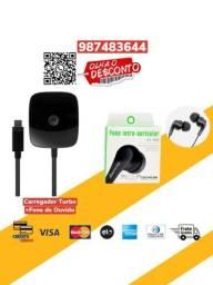 *Combo*Carregador Motorola Turbo Power + Fone de Ouvido Com Fio Verde Original