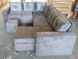 Sofás de chaise grande + puff com entrega grátis