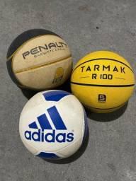 Bolas de basquete e futebol
