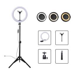 Ring Light Led Iluminador 26cm 10 Polegadas Completo 2,1m Tripé 210cm