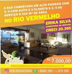 CA149 Alugo Apartamento duplex em cobertura, sem mobiliá, condomínio fechado, 4/4 suítes