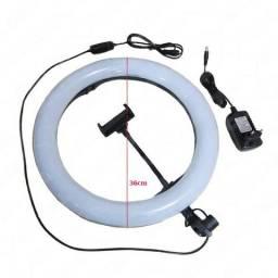 "Iluminador Led Ring Light 14"" 36cm 3200/5600k c/ Fonte"