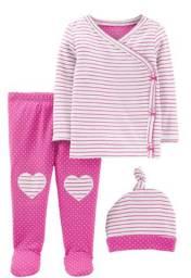 Conjunto Cardigan, calça e toca, 3 peças, Carters, tamanho 6 meses