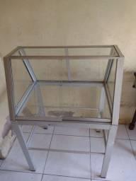expositor em aluminio e vidro