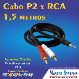 Cabo P2 x RCA para Áudio