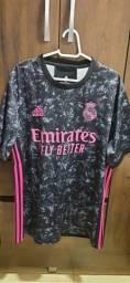 Camisa de time Real Madrid Preta e rosa 2020/2021