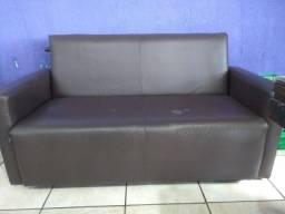Sofá cama usado marrom em courino, retirar no Bairro Bacacheri, Ctba