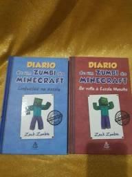 """Livros """"Diário de um Zumbi do Minecraft"""" 5 e 8"""