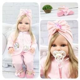 Boneca Bebê Reborn Loira Com Cílios Roupa Rosa 16 itens - Bebe Reborn Baby<br><br>