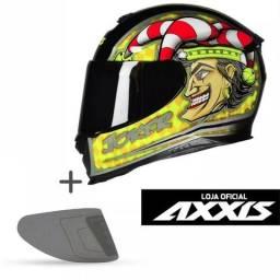 Capacete Axxis Mt Joker Palhaço Moto + Viseira Fumê Ou Cromada - Frete Grátis Brasil