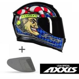 Capacete Moto Axxis Mt Joker Palhaço Azul + Viseira Fumê Ou Cromada - Frete Grátis Brasil