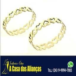 Alianças Ouro 18 k kilates / Coraçãozinhos _ Amor Eterno