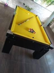 Mesa Gaveta 2,20 x 1,20 Cor Preta Tecido Amarelo Mod. KHOX7420