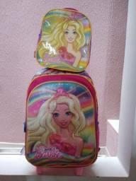 Mochila infantil feminina da Barbie+lancheira