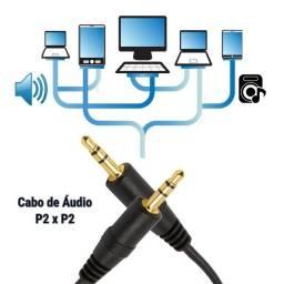 Cabo de Áudio Auxiliar 1.5m P2 x P2 3.5mm Estéreo Pontas Douradas - Loja Natan Abreu Serra