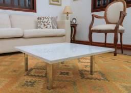 Mesa Centro Com Pedra Mármore Carrara 70x70 Cm Oportunidade