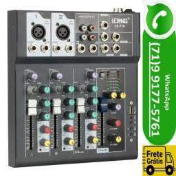 Mesa de Som Controladora Bluetooth Usb 4 Canais Le-710 (NOVO)