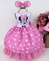 Vestido Temático Minnie Rosa Novo Disponível nos tamanhos 1, 2 e 4