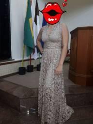vestido de festa longo. nude