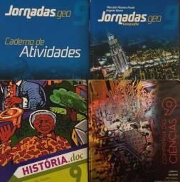 Livros 9° ano, História, Ciências e Geografia