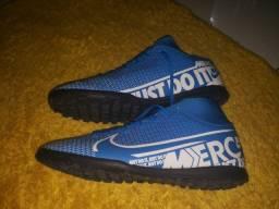 Chuteira Nike Mercurial Azul e Branco