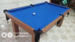 Mesa Tentação 4 Pés Laterais Cor Cerejeira Tecido Azul Mod. IUGK7989