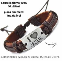 pulseira couro original eu amo jesus