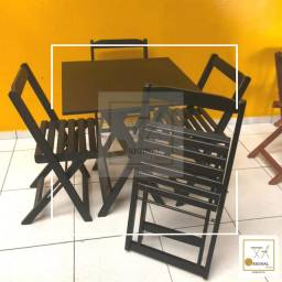 Mesas e cadeiras dobráveis com 4 cadeiras (receba em  casa )