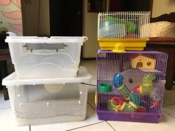 Gaiola Hamster e caixa organizadora / terrário