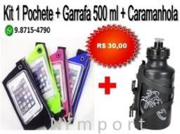 Pochete Fitness Impermeável + Garrafa 500ml + Caramanhola (Suporte) Kit