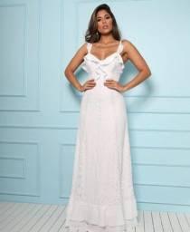 Vestido branco pré wedding /casamento civil rendado com barra rodada tamanho P Doce Maria