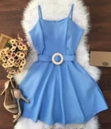 Vestido Rodado Com Cinto Azul