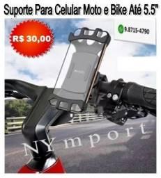 Suporte Para Celular Moto e Bike Silicone 360 Graus Universal Tela Até 5,5 Polegadas